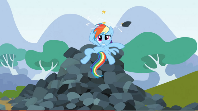 File:Rainbow Dash after the rock S3E9.png