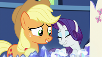 Applejack amused by Rarity's excitement S5E16