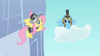 Fluttershy and Rainbow Dash in armor S2E11