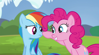 Pinkie Pie touches Rainbow's nose S4E21