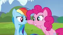 Pinkie Pie touches Rainbow's nose S4E21