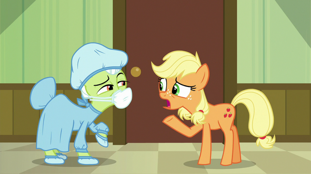 """File:Young Applejack """"they need you to wait here!"""" S6E23.png"""