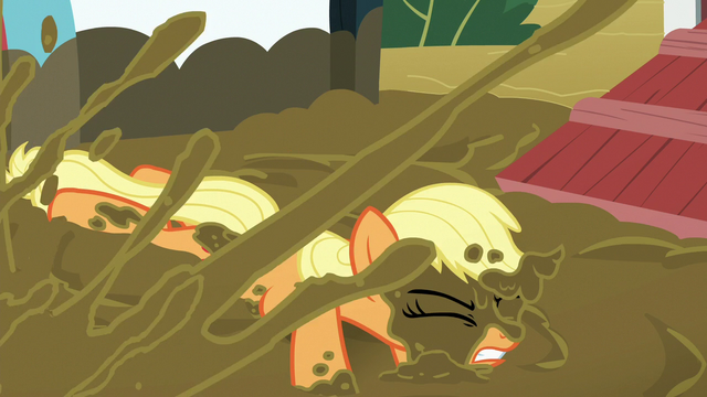 File:Applejack splashed with mud S6E15.png