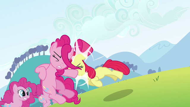File:Apple Bloom pushes the Pinkie clone S3E03.png