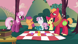 Cheerilee and Big Mac with CMC picnic S02E17.png