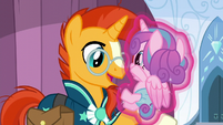 Flurry Heart being levitated onto Sunburst's hoof S6E2