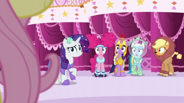File:Main five see Fluttershy step out S5E21.png