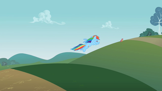 File:Rainbow Dash flying towards Scootaloo S2E08.png