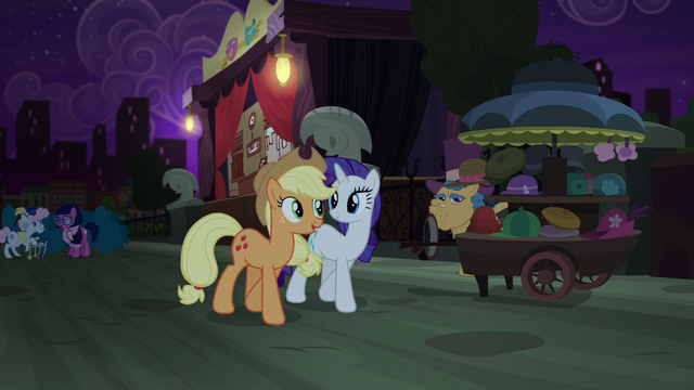 File:Applejack and Rarity ready to head home S5E16.png