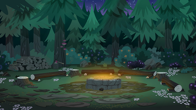 File:Legend of Everfree background asset - Camp Everfree campfire.png