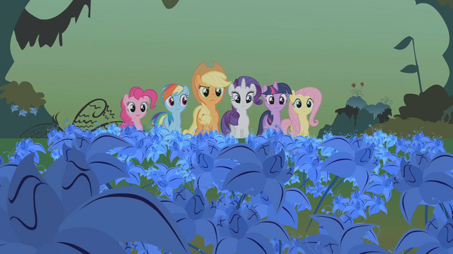 File:Mane 6 standing in the poison joke S1E09.png