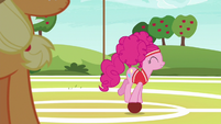 Pinkie Pie rolling around on a softball S6E18