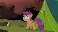 Scootaloo walking out from the tent S3E06