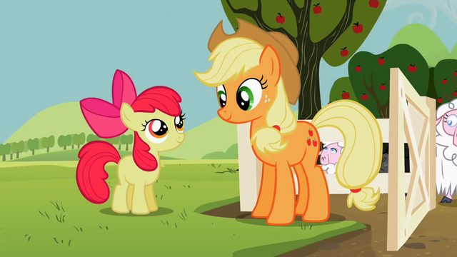 File:Apple Bloom and Applejack outside of the sheep's pen S2E05.png