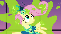 Fluttershy stuck to a ballroom window S5E7
