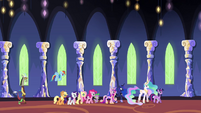 Ponies and princesses walking through the castle S4E26