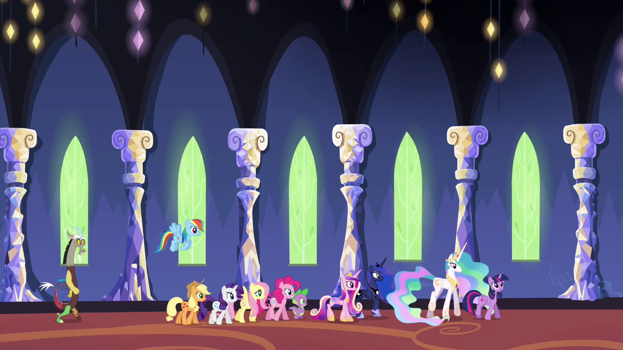 image - ponies and princesses walking through the castle s4e26
