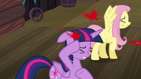 Twilight and Fluttershy shield themselves from tomatoes S5E23