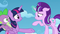 Starlight about to put her hoof on Twilight's hoof S5E26