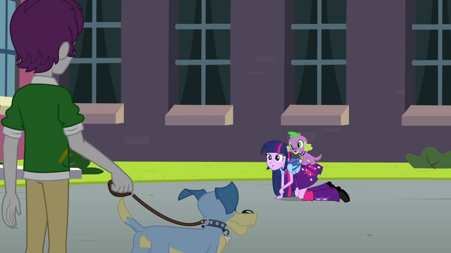File:Twilight acting like a pony in front of a student EG.png