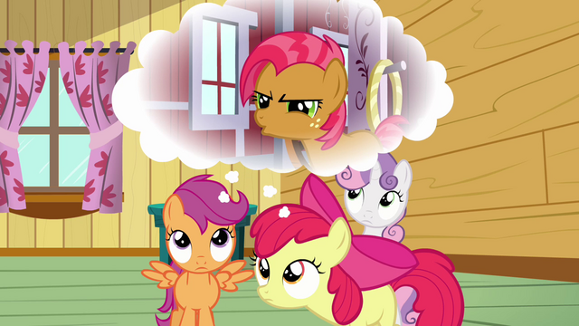 File:Apple Bloom and Scootaloo remembers what Babs said S3E04.png