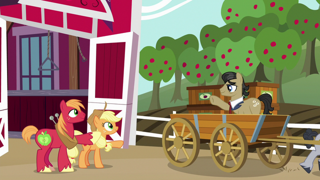 File:Applejack and Big Mac wave goodbye to Filthy Rich S6E23.png