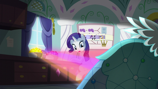 File:Gems shining on a Princess Dress behind Rarity S5E14.png