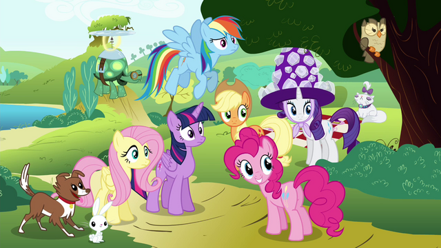 File:Mane 6 and their pets looking S4E18.png
