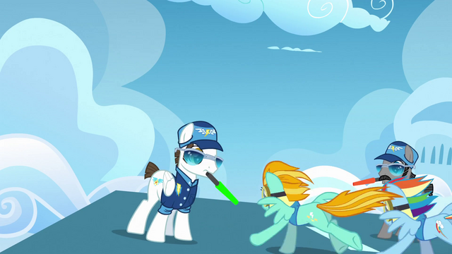 File:Rainbow Dash and Lightning Dust taking off S3E7.png