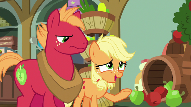 "File:Young Applejack ""what with all the blight"" S6E23.png"