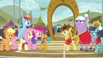 Braeburn congratulating the Ponyville team S6E18