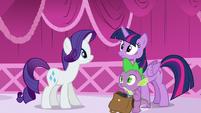 Rarity, Spike, and Twilight hear Discord S5E22