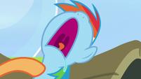 Scootaloo taps on napping Rainbow Dash S7E7