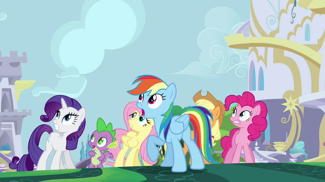 File:The ponies and Spike looking up at Twilight S4E01.png