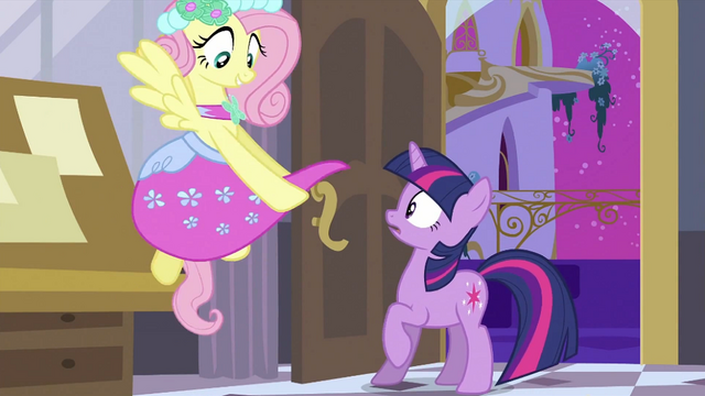 File:Fluttershy with bridesmaid dress S2E25.png