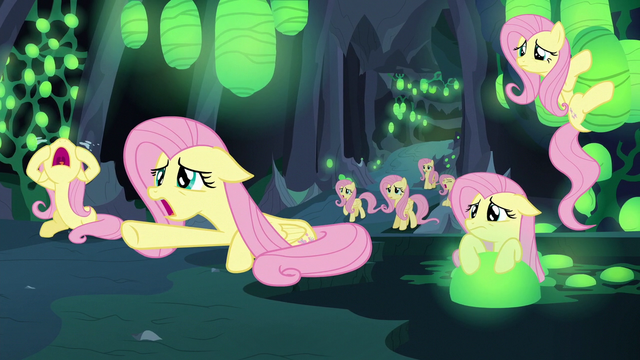 File:More Fluttershy Changelings crying to Discord S6E26.png