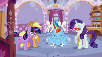 Rainbow Dash crashing into the boutique S1E14