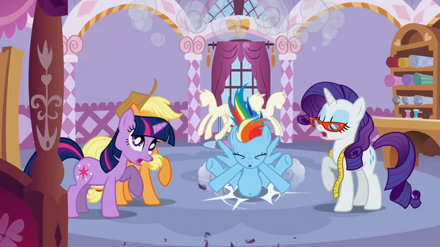 File:Rainbow Dash crashing into the boutique S1E14.png