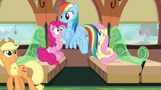 File:Rainbow and Applejack leaving the train car S6E18.png