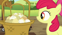 Apple Bloom pleased with her egg balancing S5E17