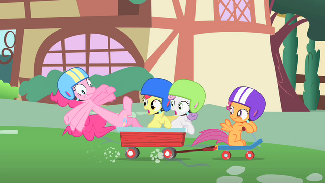 File:Pinkie Pie about to fall off the wagon S1E23.png