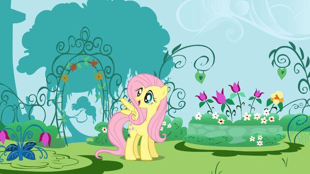 File:FANMADE Fluttershy garden wallpaper.jpg