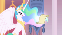 Princess Celestia looks at letter S1 opening