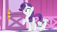 Rarity and Opal listening to Sweetie ranting inside her room S4E19
