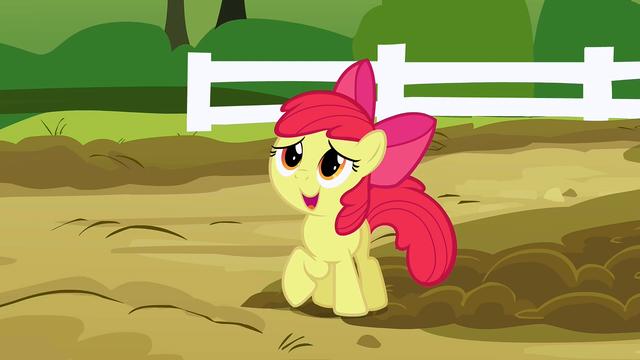 File:Apple Bloom talking to Applejack in the piggie den S3E9.png