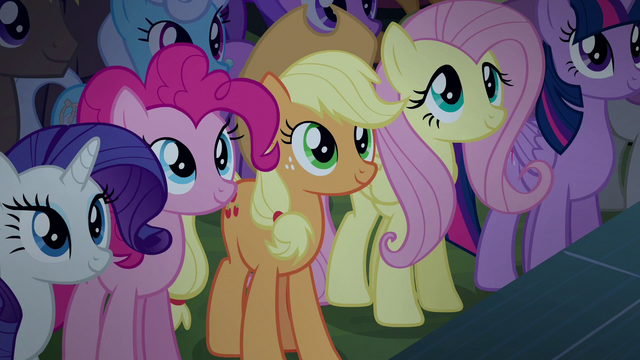 File:Applejack and friends hear Rara and CMC sing S5E24.png