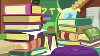Books stacked up in Fluttershy's cottage S7E5