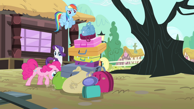 File:Pinkie Pie pushing a pile of bags S4E11.png
