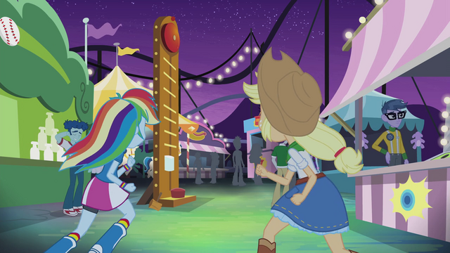 File:Rainbow and Applejack running to carnival games EG2.png