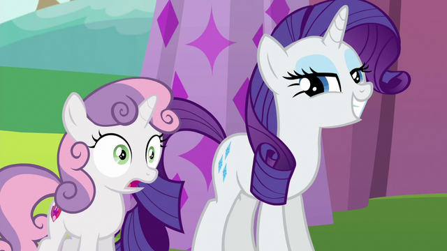 File:Sweetie Belle shocked; Rarity proud of herself S6E14.png